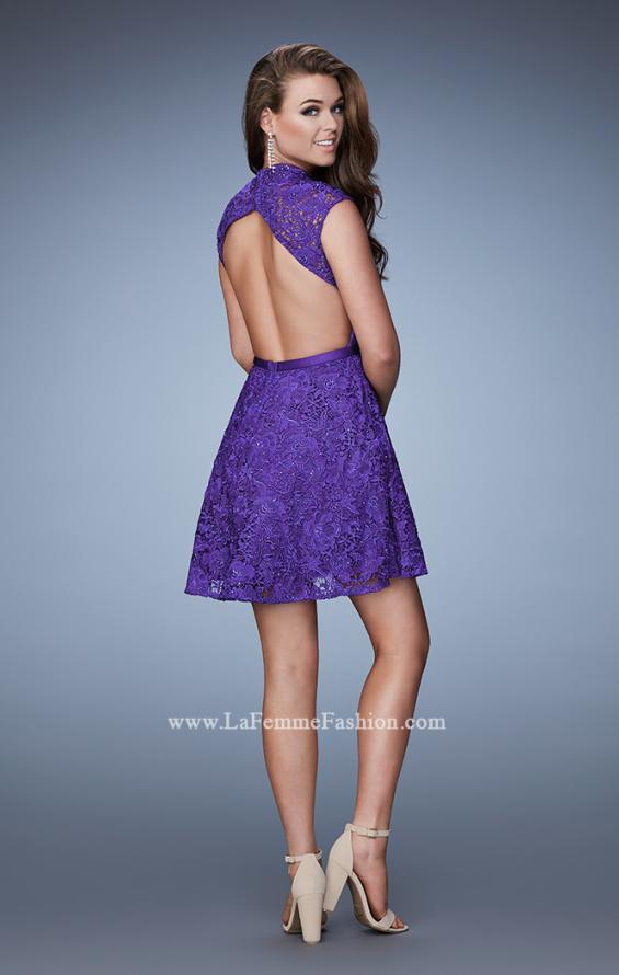 Picture of: Short Lace Dress with high Neckline and Open Back in Purple, Style: 23409, Back Picture