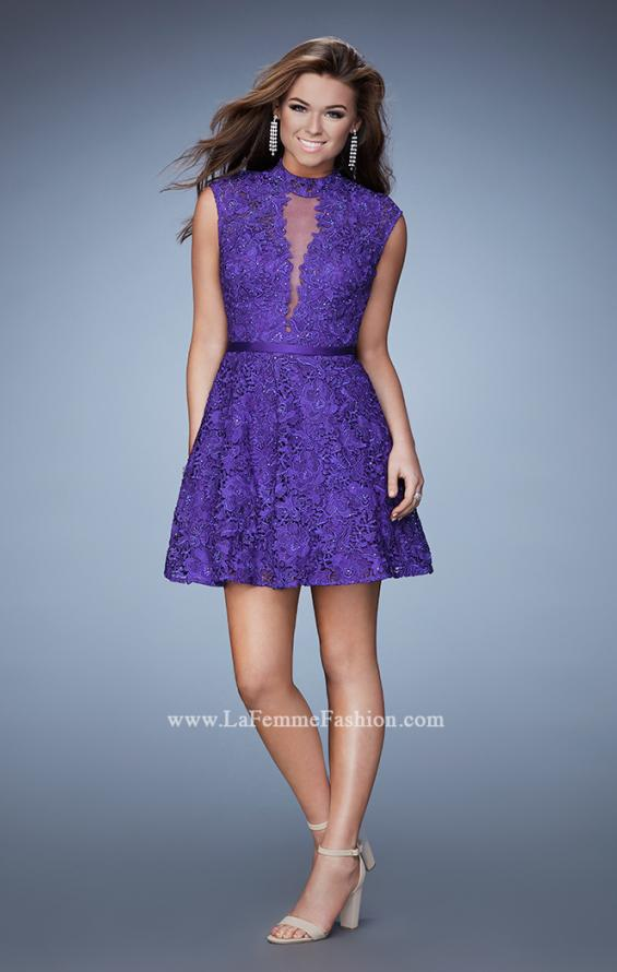 Picture of: Short Lace Dress with high Neckline and Open Back in Purple, Style: 23409, Detail Picture 1