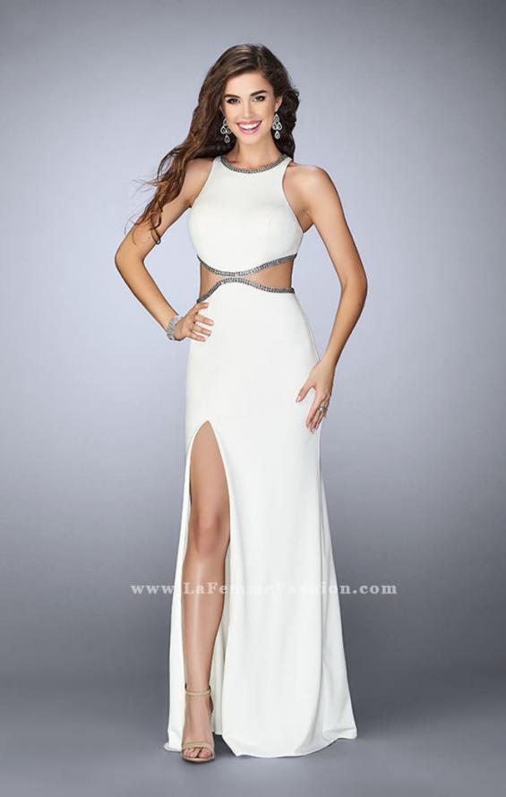 Picture of: Long Fitted Dress with Cut Outs and Side Slit in White, Style: 23418, Main Picture