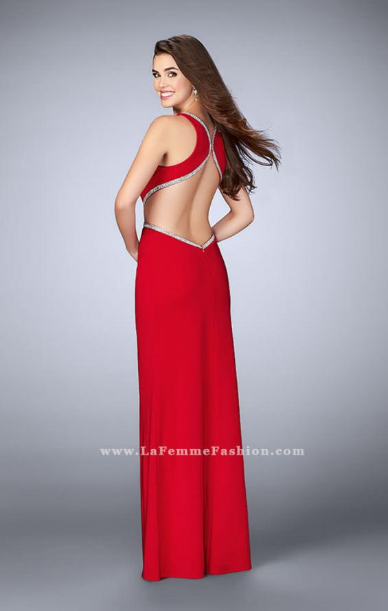Picture of: Long Fitted Dress with Cut Outs and Side Slit in Red, Style: 23418, Back Picture