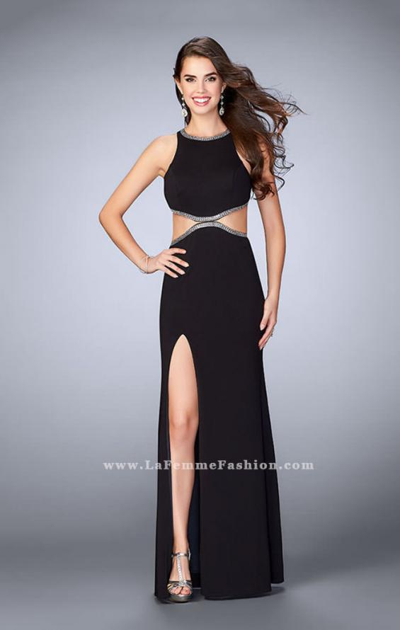 Picture of: Long Fitted Dress with Cut Outs and Side Slit, in Black Style: 23418, Detail Picture 2