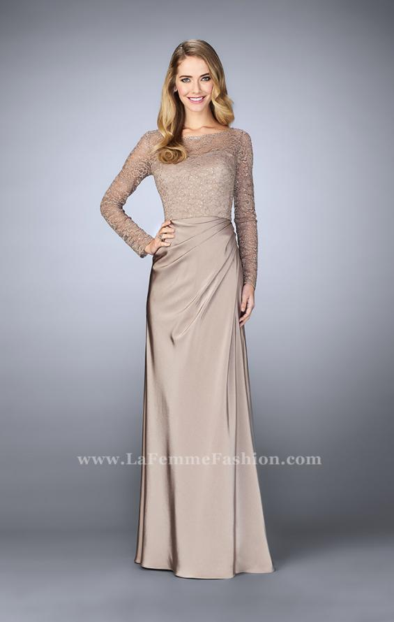 Picture of: Beaded Lace Bodice Evening Dress with Sheer Sleeves, Style: 23435, Main Picture