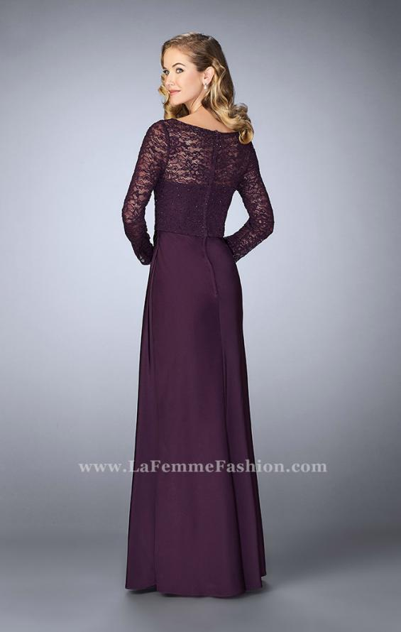 Picture of: Beaded Lace Bodice Evening Dress with Sheer Sleeves, Style: 23435, Back Picture