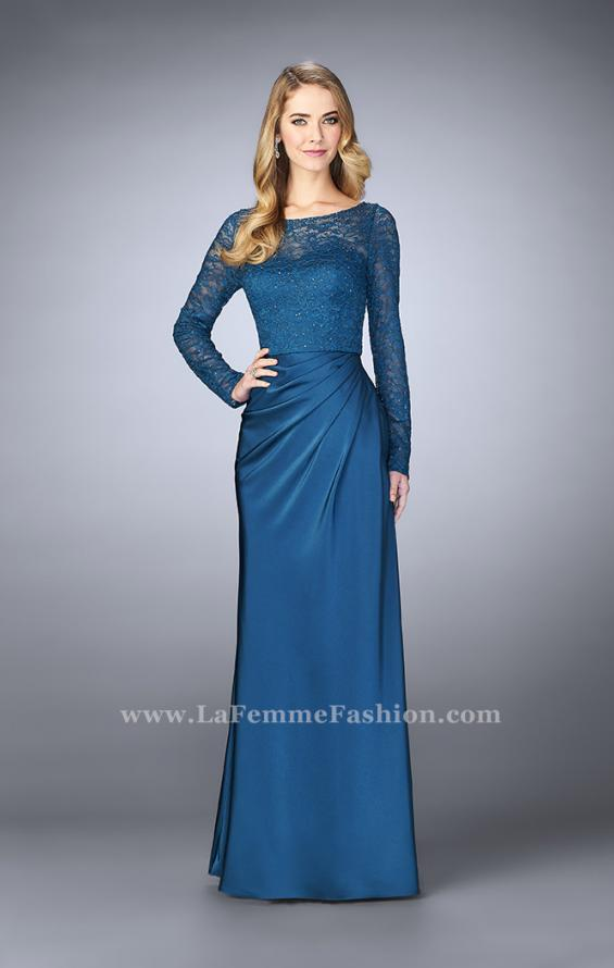 Picture of: Beaded Lace Bodice Evening Dress with Sheer Sleeves, Style: 23435, Detail Picture 2