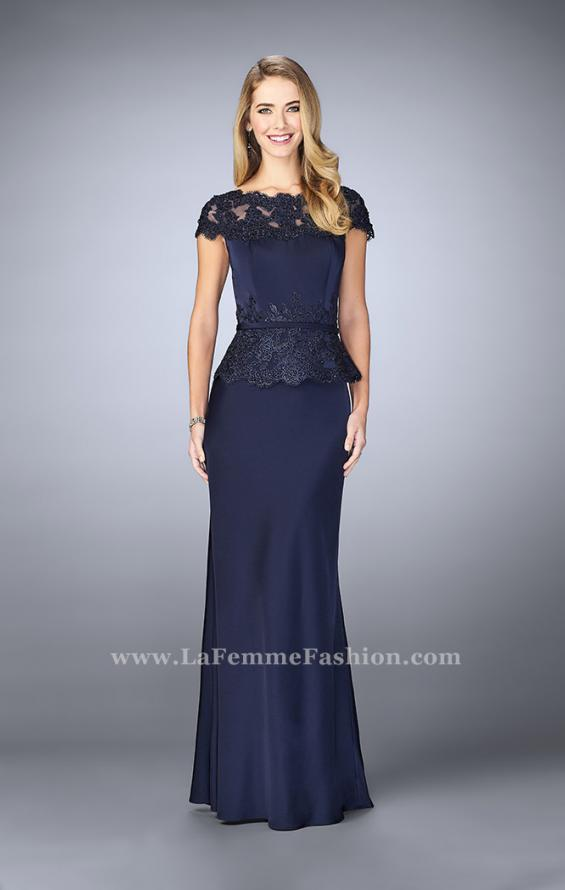 Picture of: Belted Evening Dress with Embroidered Peplum, Style: 23444, Main Picture