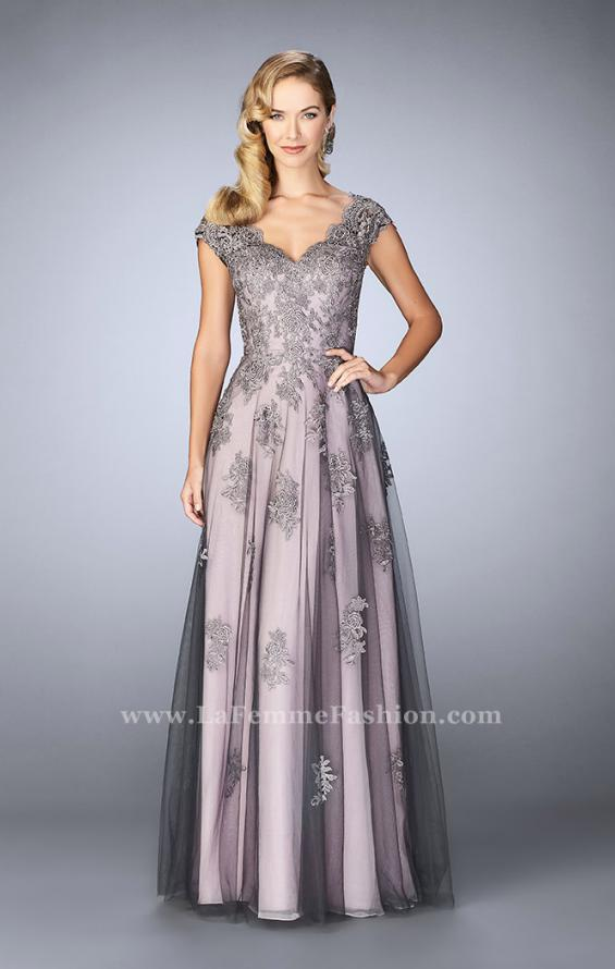 Picture of: Tulle Evening Gown with Embroidery and Cap Sleeves in Silver, Style: 23449, Main Picture