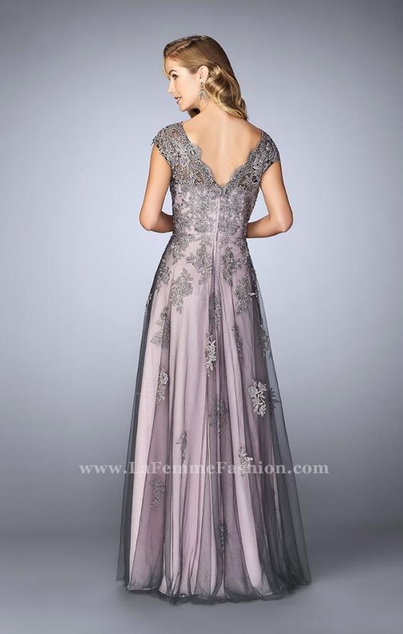 Picture of: Tulle Evening Gown with Embroidery and Cap Sleeves in Silver, Style: 23449, Back Picture