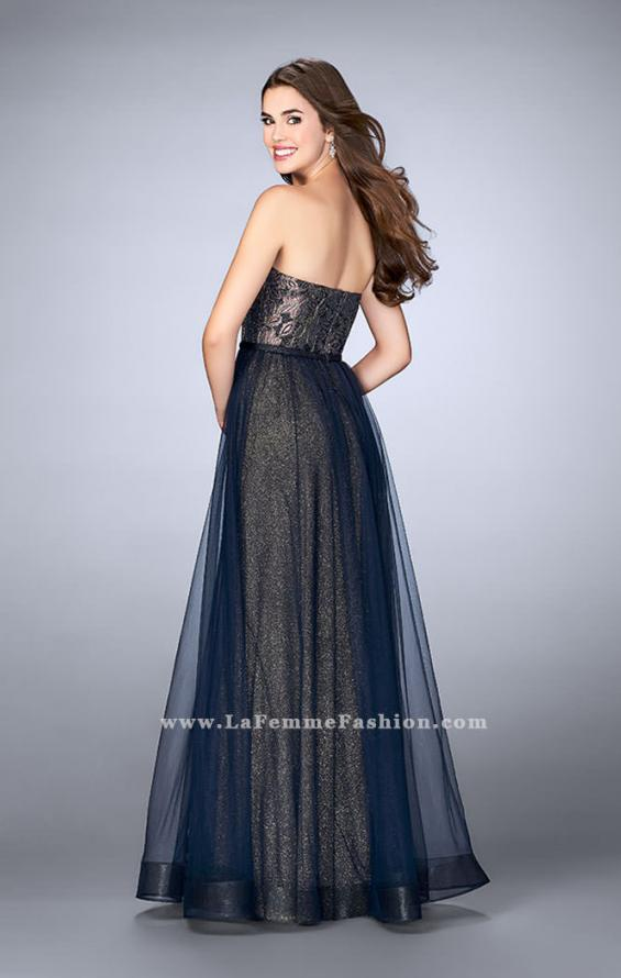 Picture of: Long A-Line Dress with Tulle Skirt and Gold Lining in Blue, Style: 23455, Back Picture