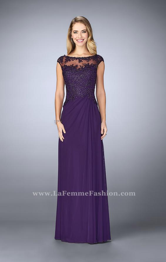 Picture of: Net evening Gown with Sheer Neckline, Style: 23456, Main Picture