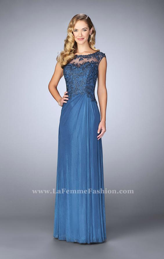 Picture of: Net evening Gown with Sheer Neckline, Style: 23456, Detail Picture 1
