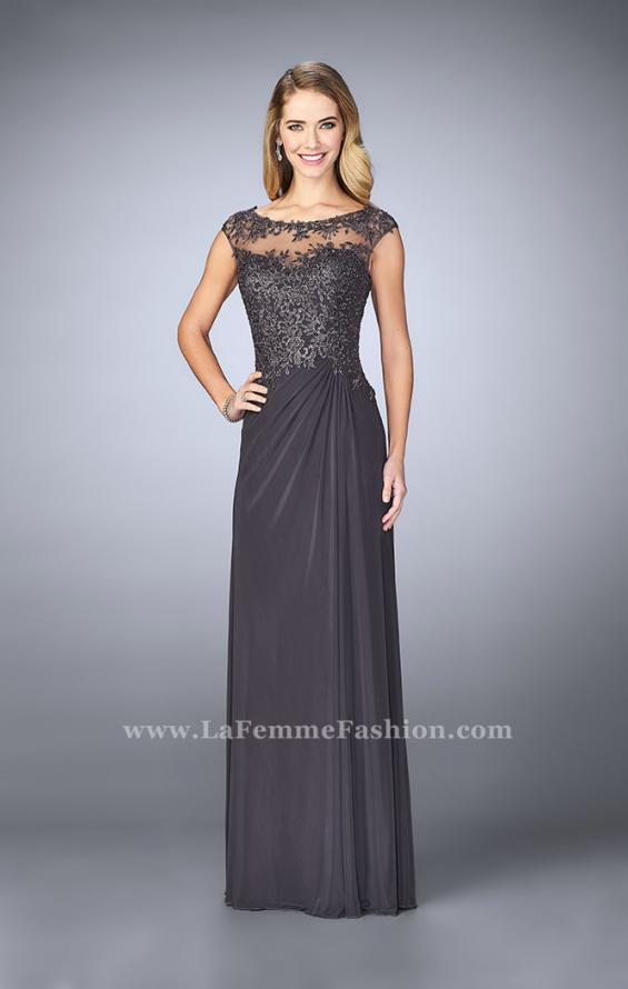 Picture of: Net evening Gown with Sheer Neckline, Style: 23456, Detail Picture 2