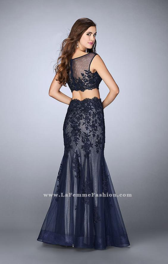 Picture of: Lace Two Piece Dress with Scallops and Mermaid Skirt in Blue, Style: 23461, Back Picture