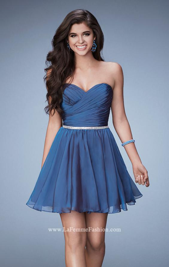 Picture of: Strapless Chiffon Short Dress with Beaded Belt in Blue, Style: 23482, Main Picture