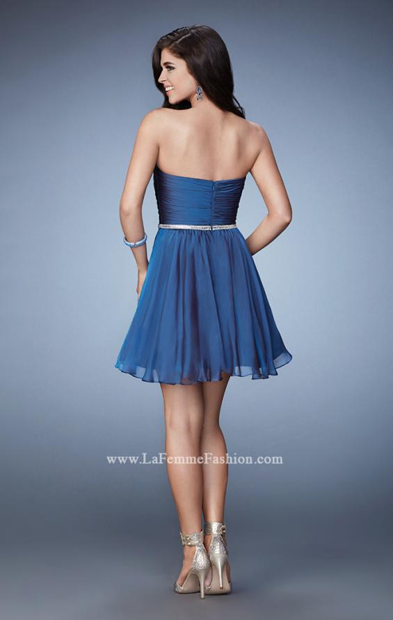 Picture of: Strapless Chiffon Short Dress with Beaded Belt in Blue, Style: 23482, Back Picture