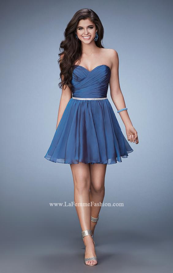 Picture of: Strapless Chiffon Short Dress with Beaded Belt in Blue, Style: 23482, Detail Picture 1
