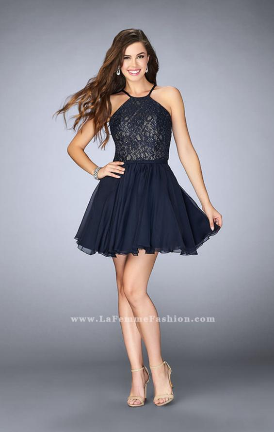 Picture of: High Neck Short Dress with Lace Bodice, Style: 23483, Detail Picture 1