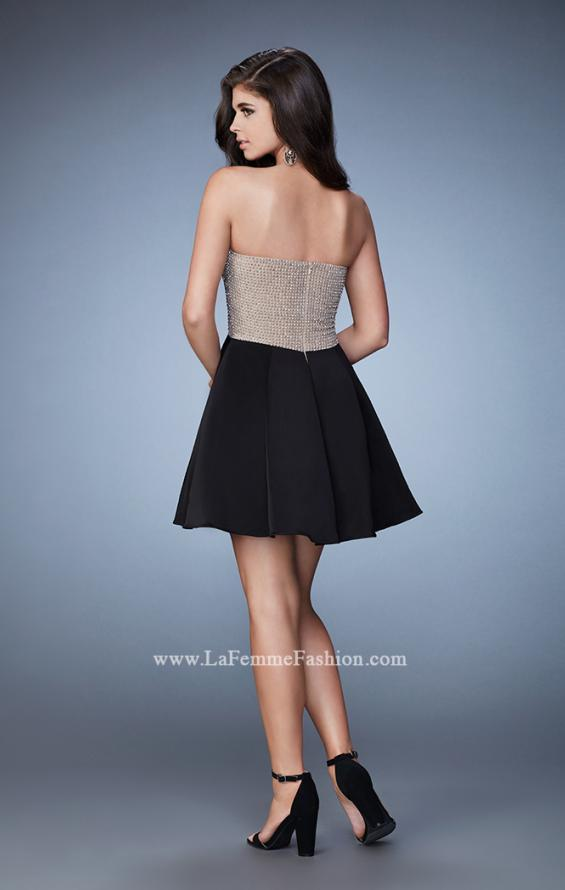 Picture of: Strapless A-line Sweetheart Beaded Short Dress in Black, Style: 23489, Back Picture