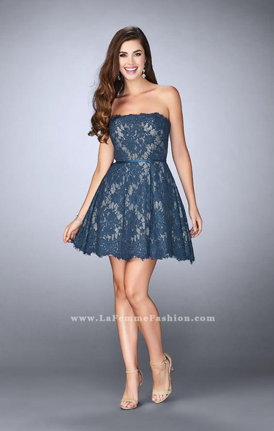 Picture of: Strapless Lace Dress with Flared Skirt and a Thin Belt, Style: 23495, Detail Picture 1