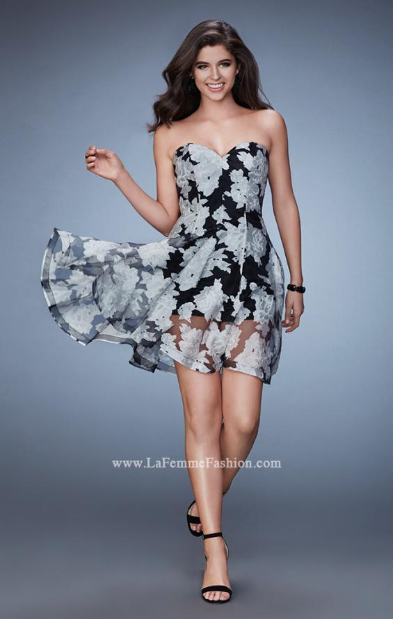 Picture of: Strapless Printed Homecoming Dress with Shorts in Print, Style: 23509, Detail Picture 1