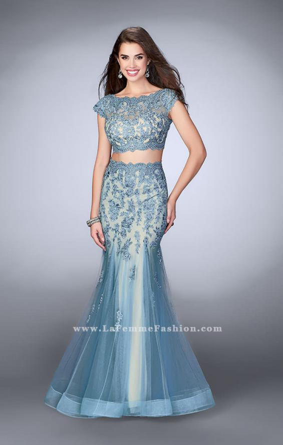 Picture of: Two Piece Lace Dress with Scallops and a Tulle Skirt in Blue, Style: 23567, Main Picture