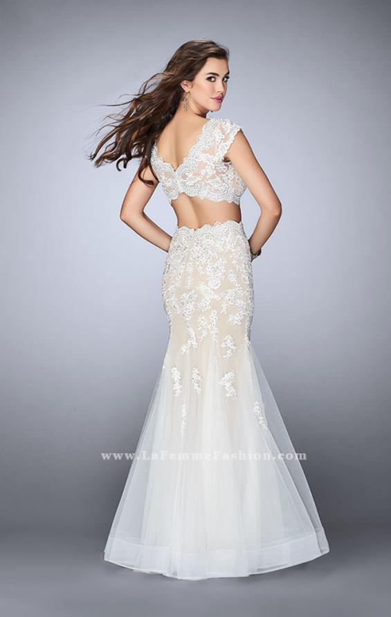Picture of: Two Piece Lace Dress with Scallops and a Tulle Skirt in White, Style: 23567, Back Picture