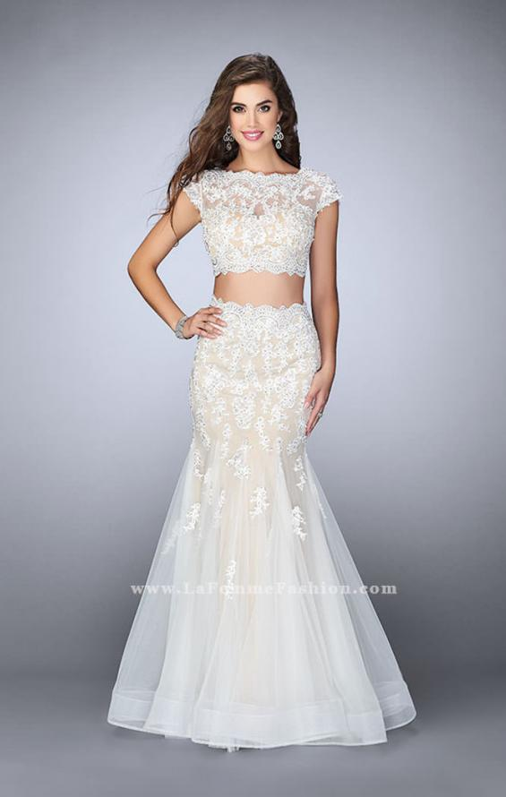 Picture of: Two Piece Lace Dress with Scallops and a Tulle Skirt in White, Style: 23567, Detail Picture 1