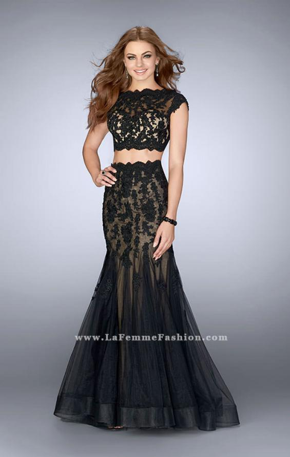 Picture of: Two Piece Lace Dress with Scallops and a Tulle Skirt in Black, Style: 23567, Detail Picture 2