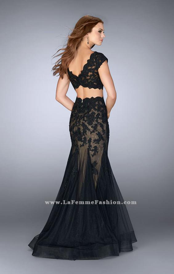 Picture of: Two Piece Lace Dress with Scallops and a Tulle Skirt in Black, Style: 23567, Detail Picture 3