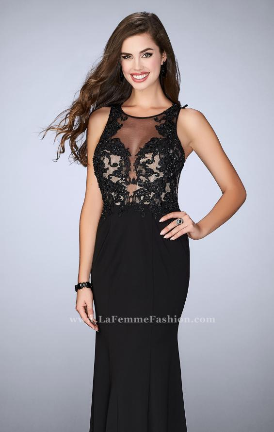 Picture of: Fitted Dress with Sheer Lace Bodice and Open Back in Black, Style: 23571, Main Picture