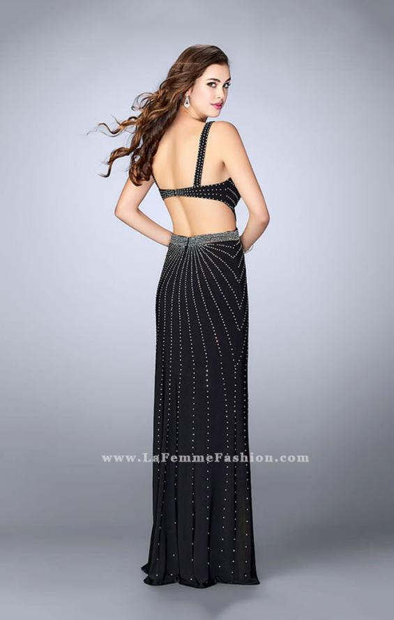Picture of: Fitted Prom Dress with Rhinestone and Deep V Neckline in Black, Style: 23586, Back Picture