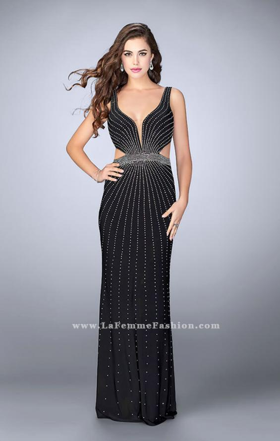 Picture of: Fitted Prom Dress with Rhinestone and Deep V Neckline in Black, Style: 23586, Detail Picture 1