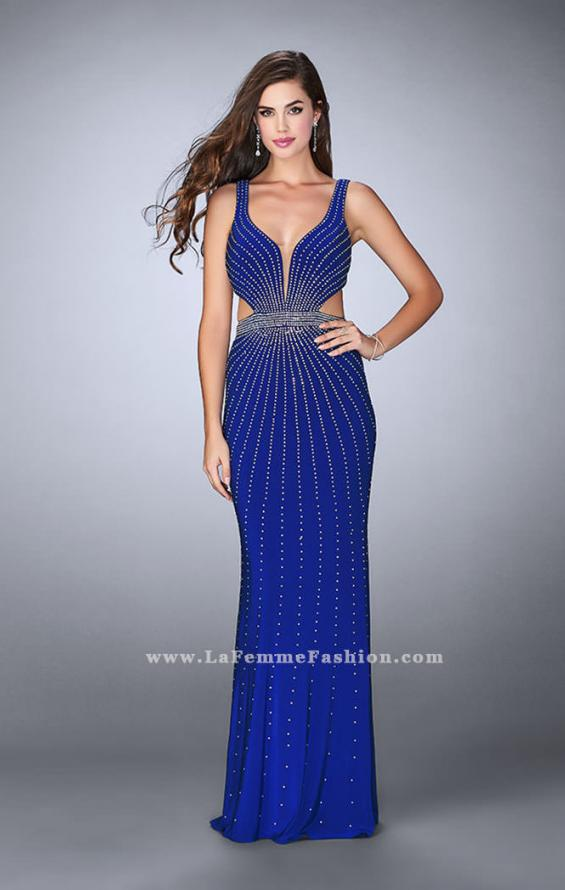 Picture of: Fitted Prom Dress with Rhinestone and Deep V Neckline in Blue, Style: 23586, Detail Picture 2