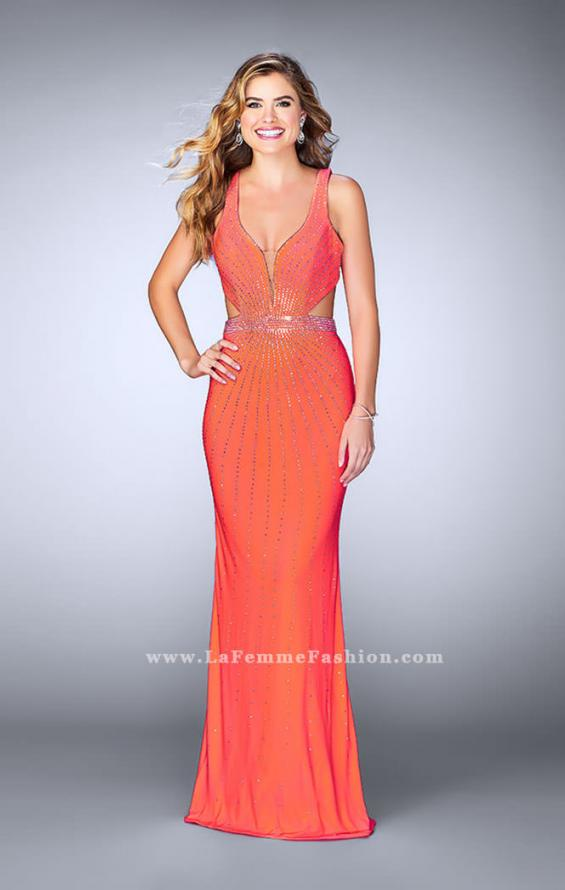 Picture of: Fitted Prom Dress with Rhinestone and Deep V Neckline in Orange, Style: 23586, Detail Picture 3
