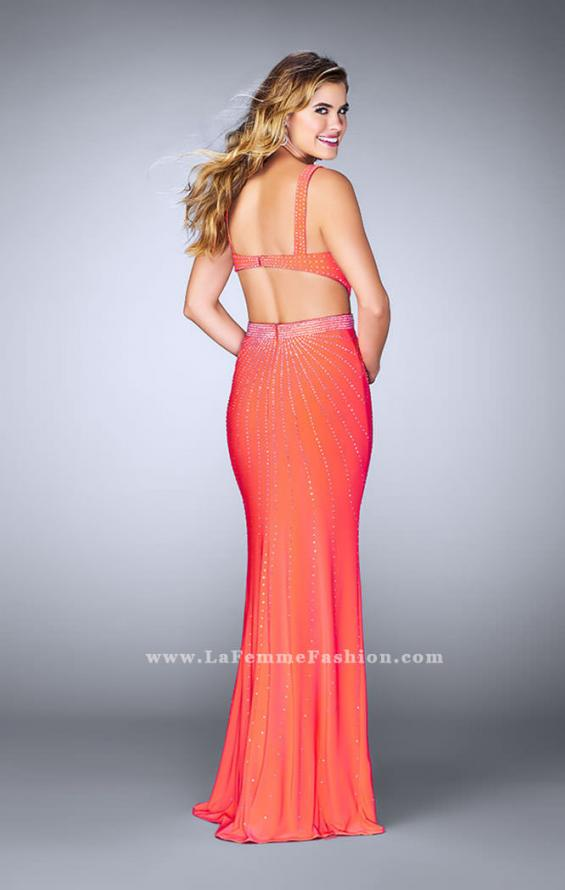 Picture of: Fitted Prom Dress with Rhinestone and Deep V Neckline in Orange, Style: 23586, Detail Picture 4