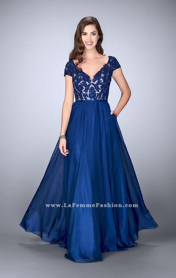 Picture of: A-line Dress with Cap Sleeves, Lace Top and Chiffon Skirt, Style: 23587, Main Picture