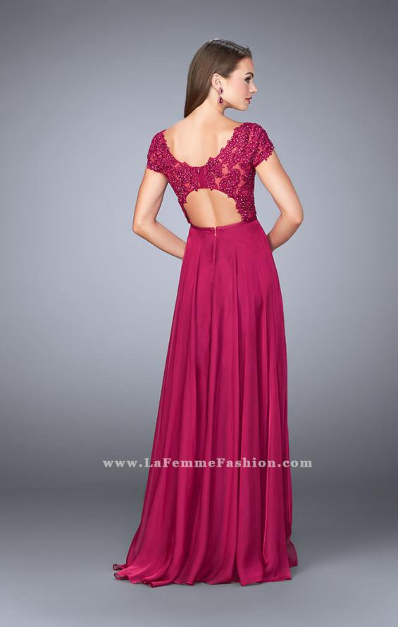Picture of: A-line Dress with Cap Sleeves, Lace Top and Chiffon Skirt, Style: 23587, Back Picture