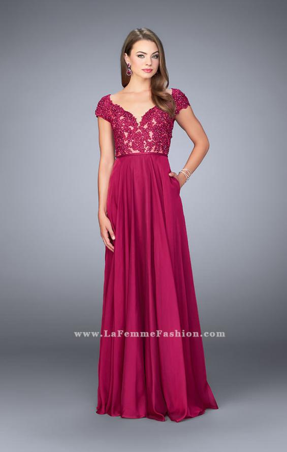 Picture of: A-line Dress with Cap Sleeves, Lace Top and Chiffon Skirt, Style: 23587, Detail Picture 1