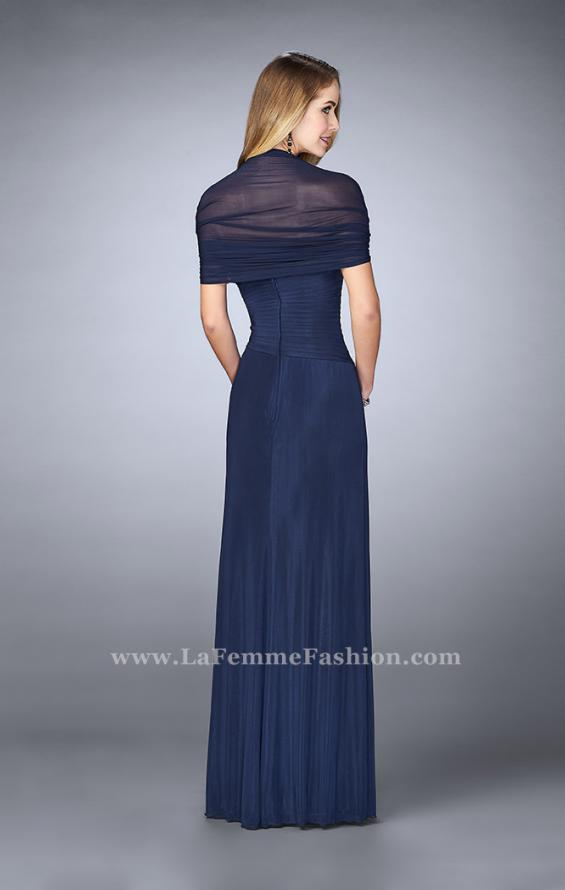 Picture of: Evening Dress with Attached Shoulder Wrap in Blue, Style: 23623, Back Picture