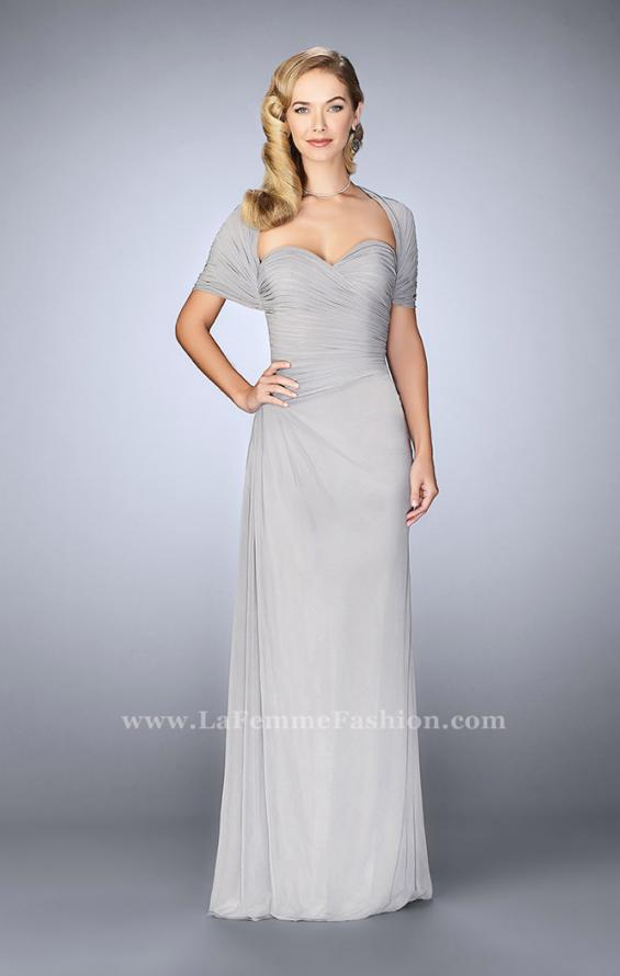 Picture of: Evening Dress with Attached Shoulder Wrap in Silver, Style: 23623, Detail Picture 1