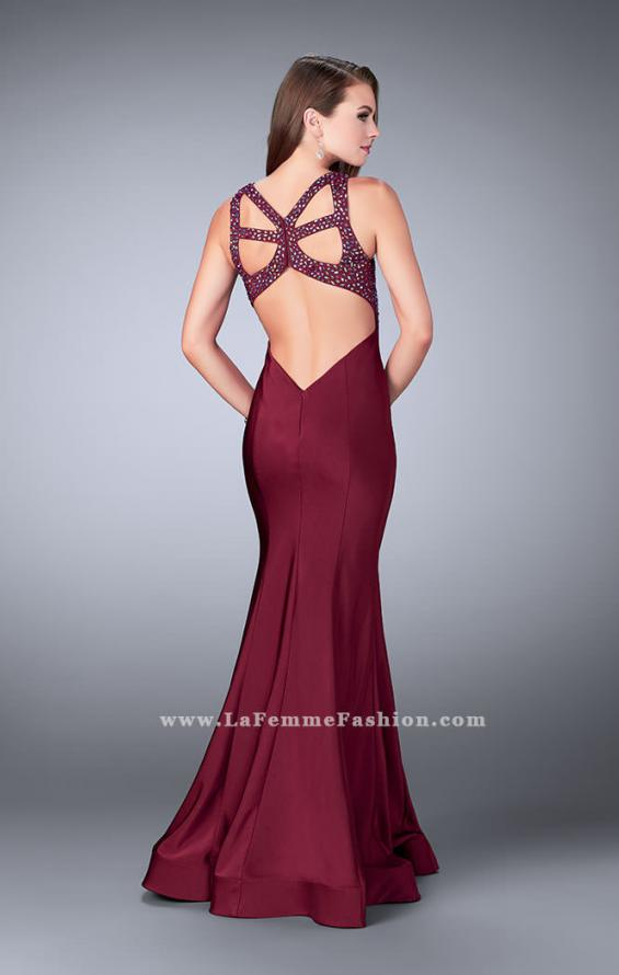 Picture of: Fitted Jersey Dress with Sweetheart Neckline and Beading in Red, Style: 23625, Back Picture