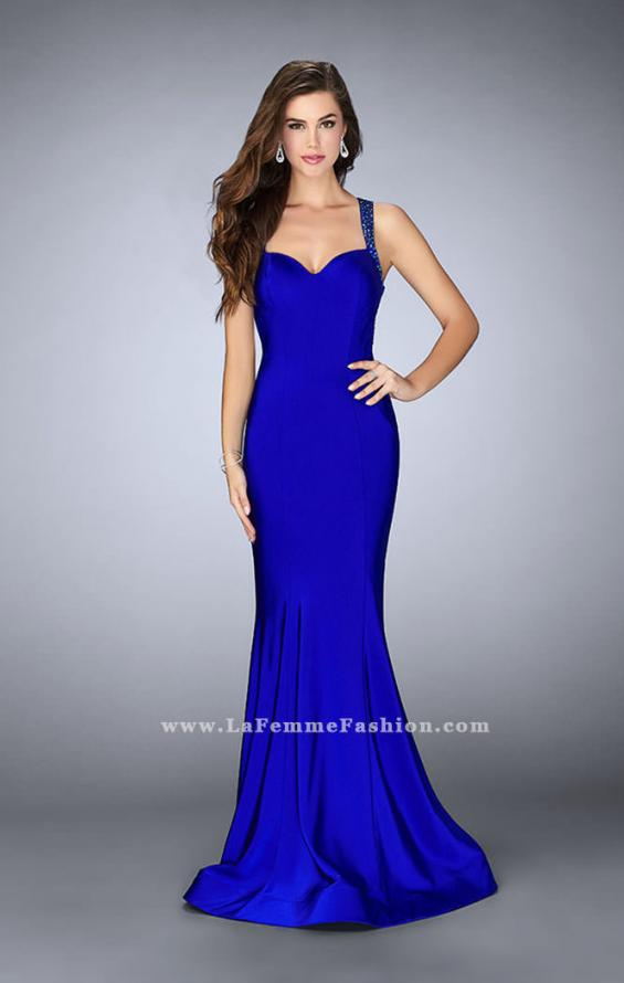 Picture of: Fitted Jersey Dress with Sweetheart Neckline and Beading in Blue, Style: 23625, Detail Picture 1