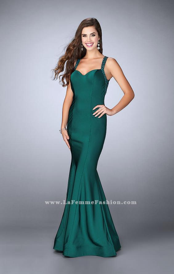 Picture of: Fitted Jersey Dress with Sweetheart Neckline and Beading in Green, Style: 23625, Detail Picture 2