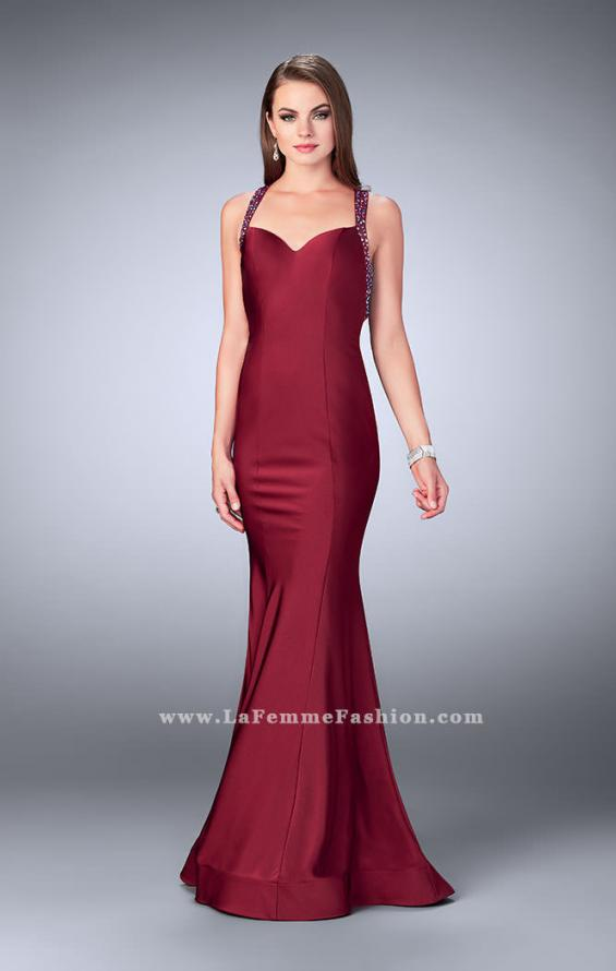 Picture of: Fitted Jersey Dress with Sweetheart Neckline and Beading in Red, Style: 23625, Detail Picture 3