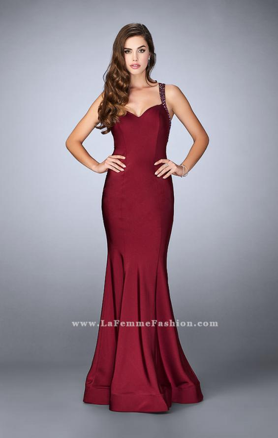 Picture of: Fitted Jersey Dress with Sweetheart Neckline and Beading in Red, Style: 23625, Detail Picture 4