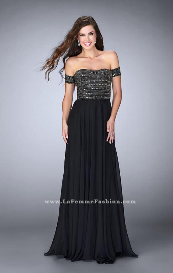 Picture of: Off the Shoulder Long Prom Dress with Beaded Bodice in Black, Style: 23644, Main Picture