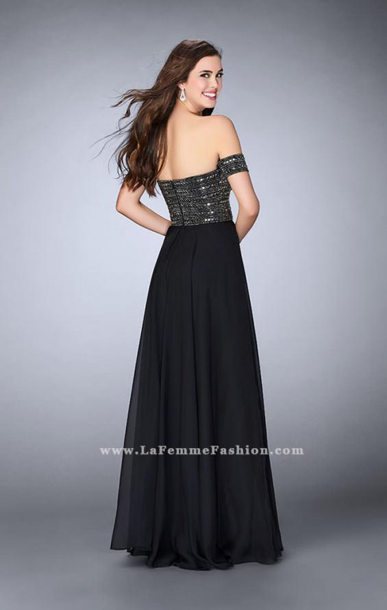 Picture of: Off the Shoulder Long Prom Dress with Beaded Bodice in Black, Style: 23644, Back Picture
