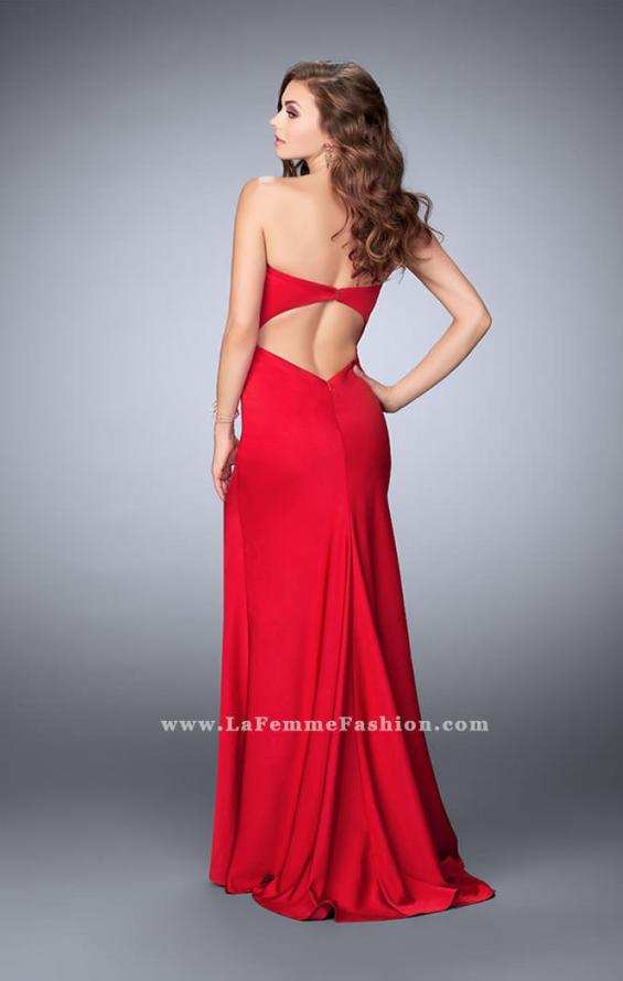 Picture of: Strapless Jersey Dress with Lace Up Neckline and Slit, Style: 23650, Back Picture