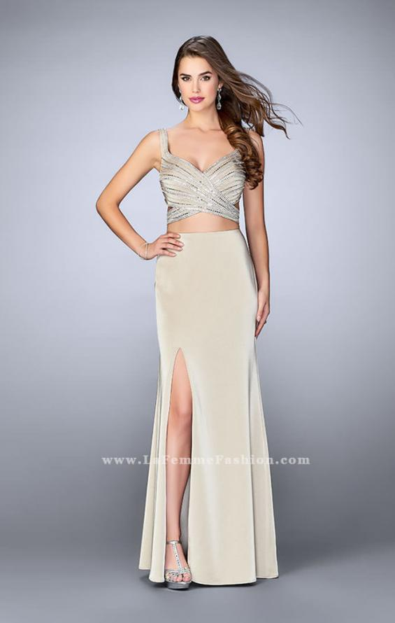 Picture of: Illusion Two Piece Dress with Beaded Top and Fitted Skirt in Nude, Style: 23653, Main Picture
