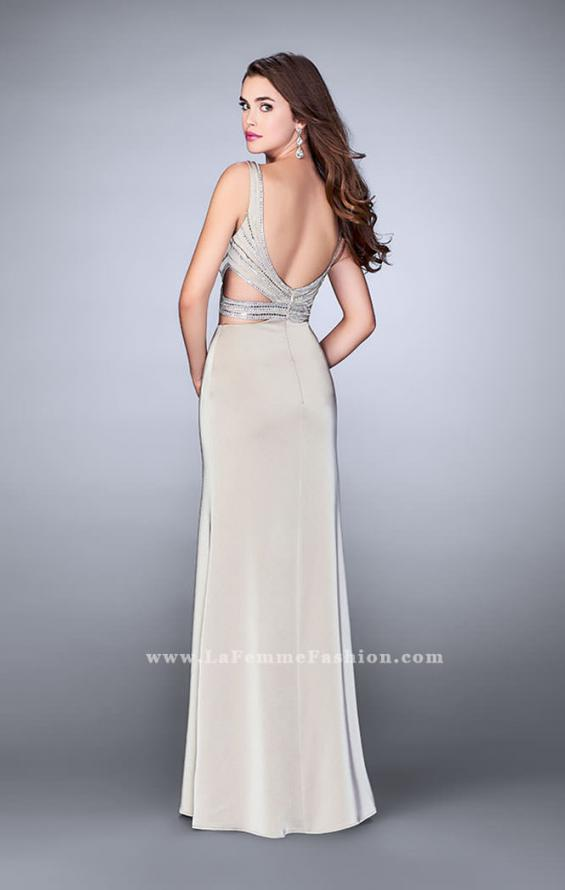 Picture of: Illusion Two Piece Dress with Beaded Top and Fitted Skirt in Nude, Style: 23653, Back Picture