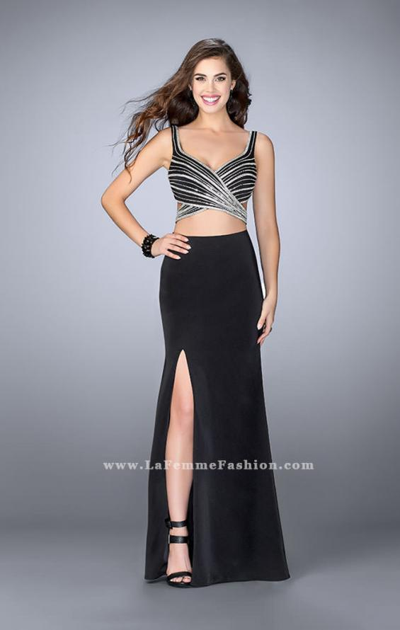 Picture of: Illusion Two Piece Dress with Beaded Top and Fitted Skirt in Black, Style: 23653, Detail Picture 2
